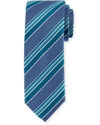 Bugatchi Striped Silk Tie Classic Blue