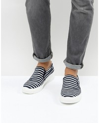 Armani Jeans Stripe Slip On Sneakers In Navy
