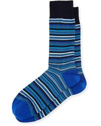 Bugatchi Stripe Print Cotton Blend Socks Classic Blue