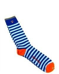 True Religion One Pair Blue Orange Striped Tube Socks