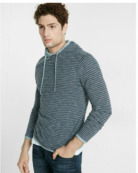 Express Striped Crossover Hooded Sweater