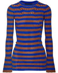 By Malene Birger Striped Metallic Ribbed Knit Sweater Cobalt Blue