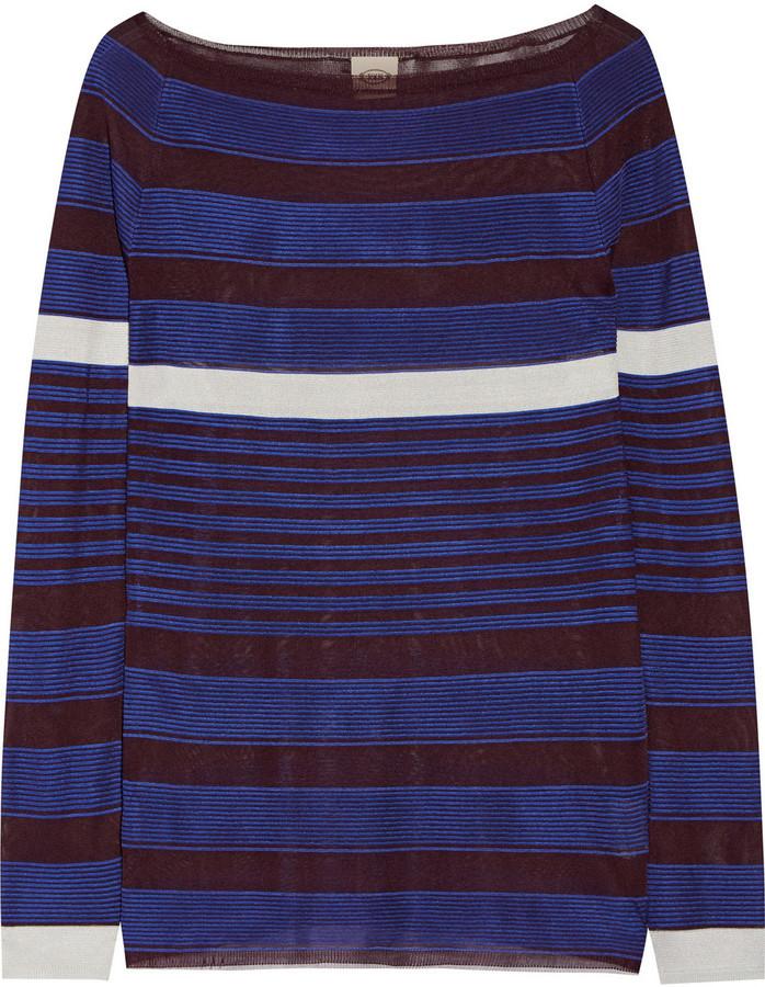 Tod's Striped Stretch Knit Sweater Cobalt Blue