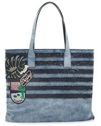 Marc Jacobs Wingman Striped Denim Tote Bag