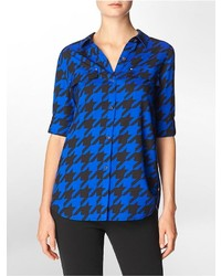 Houndstooth print roll up sleeve top shirt medium 150678