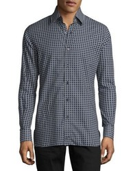 Tom Ford Houndstooth Print Sport Shirt Navy
