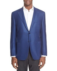 Blue Houndstooth Wool Blazer
