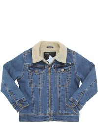 Molo Faux Shearling Cotton Denim Jacket