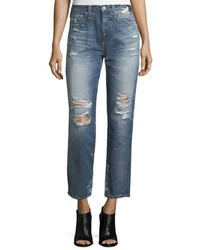 AG Jeans Ag Phoebe Distressed High Rise Straight Leg Jeans