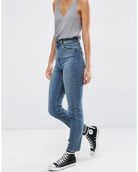 Asos Farleigh High Waist Slim Mom Jeans In Bebe Dark Stonewash Blue With Rips