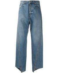 Lanvin Asymmetric Cropped Straight Leg Jeans