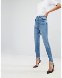 Asos Authentic Rigid Mom Jeans In Mid Wash With Stirrup Hem