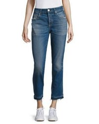 Amo Babe High Rise Raw Hem Straight Leg Jeans