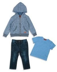 7 For All Mankind Babys Toddler Boys Three Piece Hoodie Tee Straight Leg Jeans Set