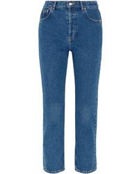Balenciaga Genuine Cropped High Rise Straight Leg Jeans Mid Denim