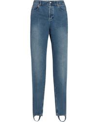 Balenciaga High Rise Straight Leg Jeans Mid Denim