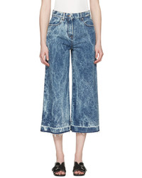 MSGM Blue Marbled Denim Wide Leg Jeans