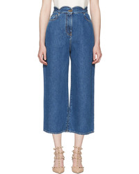 Valentino Blue Wide Leg Scallop Waist Jeans