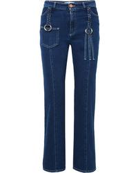See by Chloe Braided High Rise Straight Leg Jeans