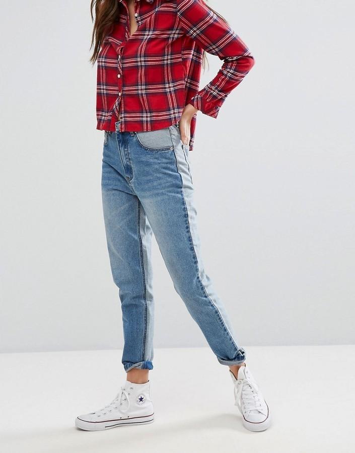 Boohoo Color Block Mom Jeans
