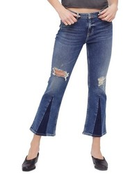Free People Colorblock Crop Jeans