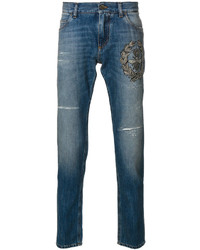 Dolce & Gabbana Crown Bee Embroidered Jeans