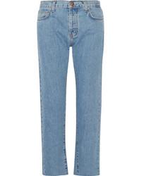 Current/Elliott The Original Straight Cropped Mid Rise Jeans Light Denim