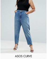 Asos Curve Curve Authentic Rigid Mom Jeans In Mid Wash With Stirrup Hem