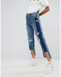 Asos Deconstructed Straight Leg Jeans With Rips And Extreme Stepped Hem