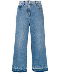 MSGM Denim Cropped Wide Leg Jeans