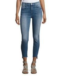 Mother Denim Stunner Zip Ankle Step Fray Jeans Blue