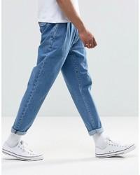 ASOS DESIGN Double Pleat Straight Leg Jean In Light Blue