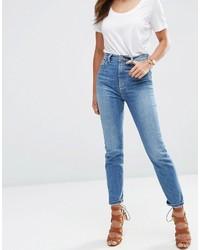 Asos Farleigh High Waist Slim Mom Jeans In Gwen Mid Stonewash Blue