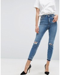 Asos Farleigh High Waist Slim Mom Jeans In Hawthorn Mid Stonewash With Busted Knees And Let Down Hems