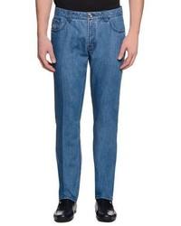 Stefano Ricci Five Pocket Slim Fit Denim Jeans Light Blue
