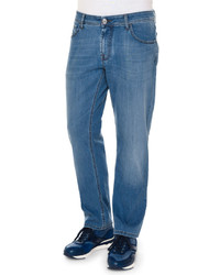 Stefano Ricci Five Pocket Straight Leg Denim Jeans Blue