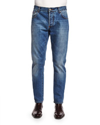 Isaia Five Pocket Washed Denim Jeans Blue