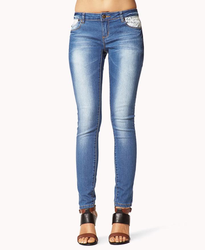 Crochet Jeans : Blue Jeans: Forever 21 Sweet Crochet Skinny Jeans Where to buy & how ...