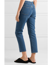 Balenciaga Genuine Cropped High Rise Straight Leg Jeans Mid Denim