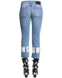 MSGM High Rise Cropped Logo Hem Denim Jeans
