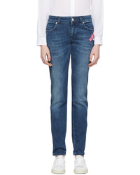 Versus Indigo Pin And Patch Jeans
