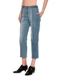 Stella McCartney Kimberly Mixed Denim Cropped Straight Leg Jeans Medium Blue