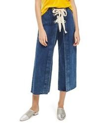 Topshop Lace Up Crop Jeans