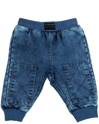 Little Marc Jacobs Faded Denim Effect Cotton Jogging Pants