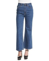 Marc Jacobs High Rise Wide Leg Cropped Jeans Bright Blue