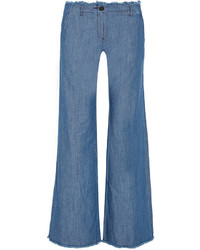 MICHAEL Michael Kors Michl Michl Kors Frayed High Rise Wide Leg Jeans Blue