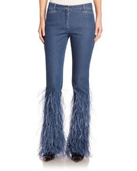 Michael Kors Michl Kors Collection Ostrich Feather Jeans