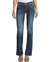 Miss Me Boot Cut Jeweled Rivet Jeans Medium Dark Wash