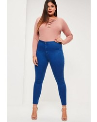 Missguided Plus Size Blue High Waisted Jeans