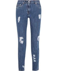 Moschino Distressed Mid Rise Slim Leg Jeans Mid Denim